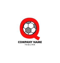 q letter logo football ball logo design vector image