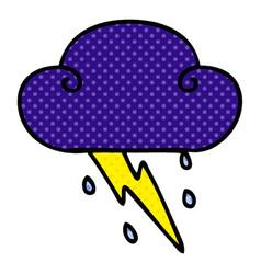 Quirky comic book style cartoon thunder cloud vector