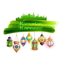Ramadan Kareem greeting with illuminated lamp vector