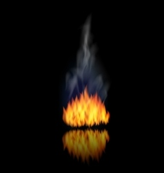 Realistic Fire Flame with Smoke on Black vector