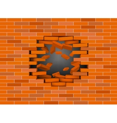 Red broken brick wall vector