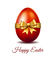 red easter egg tied gold ribbon vector image