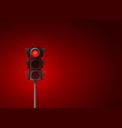 red traffic light background signal vector image