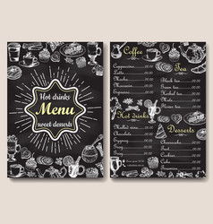 Restaurant chalkboard menu design hand vector