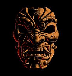 Samurai warrior mask color version 2 vector