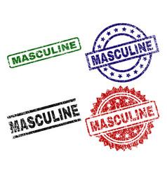 scratched textured masculine stamp seals vector image