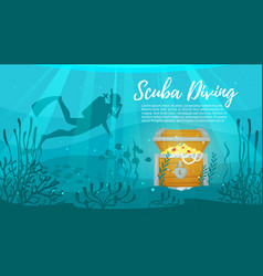 scuba diver explores treasure chest vector image