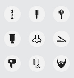 Set 9 editable barbershop icons includes vector