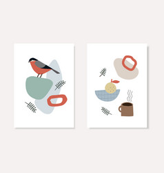 set christmas scandinavian greeting cards vector image