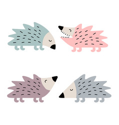 Set cute hedgehogs set vector