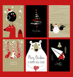 set of retro funny christmas cards vector image
