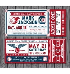 set vintage basketball tickets vector image