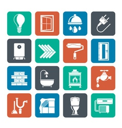 Silhouette Construction and home renovation icons vector image