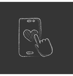 Smartphone with heart sign Drawn in chalk icon vector