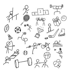 Sport doodle art icon set thin line icon for sea vector