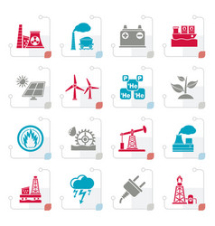 stylized electricity and energy source icons vector image