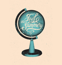 Summer globe calligraphic retro grunge poster vector