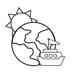 Sun with globe vector