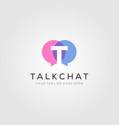 talk bubble chat letter t overlapping logo icon vector image