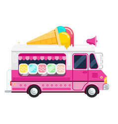 The ice cream pink cute van flat vector