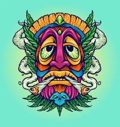 Tiki joint kush smoking weed cannabis vector