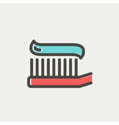 Toothbrush with toothpaste thin line icon vector image