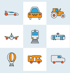 Transit icons colored line set with tractor vector