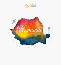 Travel around the world Romania Watercolor map vector