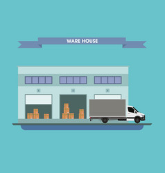 truck on the background of the warehouse with the vector image