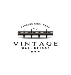 Vintage bridge and river landscape silhouette logo vector