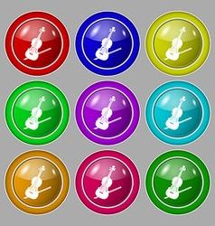 Violin icon sign symbol on nine round colourful vector image