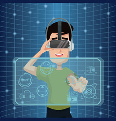 Virtual reality wearing goggle three dimensional vector