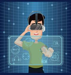 Virtual reality wearing goggle three dimensional vector