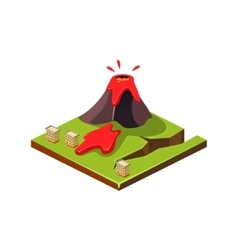 Volcano Eruption and Lava Natural Disaster Icon vector