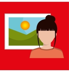 woman and picture isolated icon design vector image