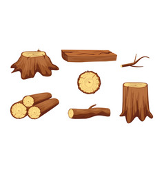 wooden trunk materials and firewood set vector image