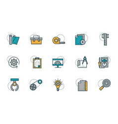 Work tools engineering icons collection vector
