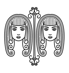 Zodiac gemini astrological sign twins two women vector