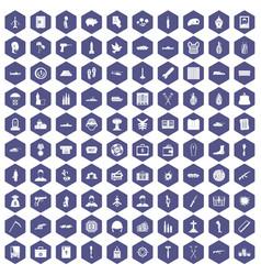 100 war crimes icons hexagon purple vector