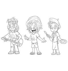 cartoon hippie with guitar jamaican character set vector image