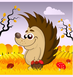 Cute hedgehog in the woods in the fall vector