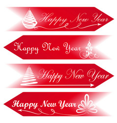 happy new year road signs arrows message red vector image vector image