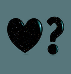 black heart and question mark with sparkles vector image
