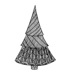 black white decorative christmas tree doodle vector image