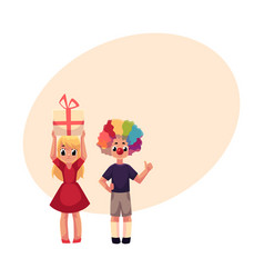 boy with clown nose and wig girl holding birthday vector image vector image