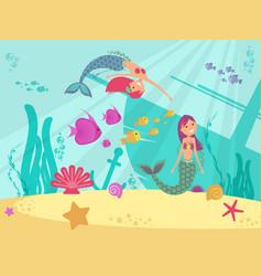 cartoon fairytale underwater background vector image vector image
