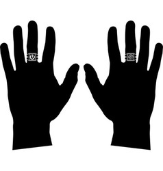 hands with rings stencil vector image