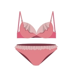 pink set lingerie with lace vector image vector image