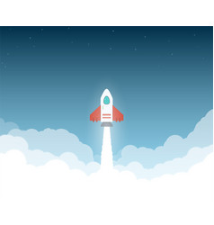 rocket to the space clouds vector image vector image