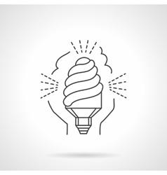Saving energy lamp flat line icon vector image